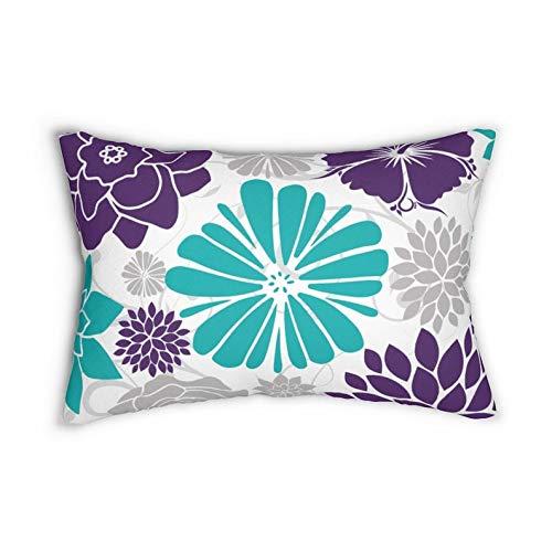 Just1268on Purple and Teal Floral Lumbar Pillow, Decorative Pillow, Flower Burst Lumbar Pillow, Nursery Pillow, Rocking Chair Pillow