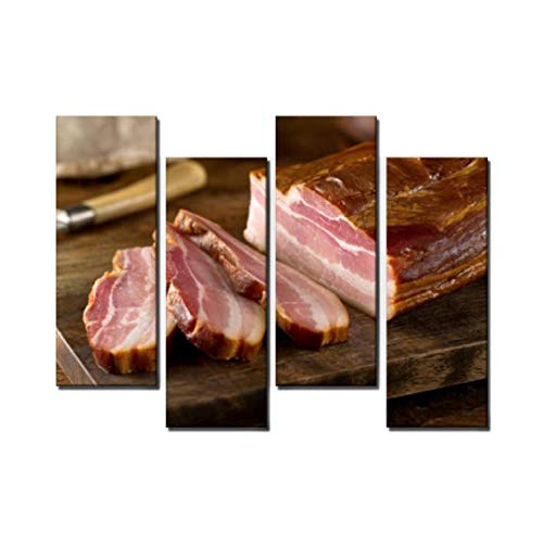 Wocatton Whole Smoked Slab Bacon Wall Art Background Decor Pictures Print On Canvas Art Stretched and Framed Perfect Home Decoration
