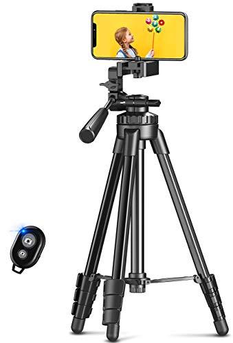 Cocoda Tripode para Movil, Aleación de Aluminio Palo Selfie Tripode para Camara Reflex, Trípode con Control Bluetooth y Cabezal Giratorio de 3 Vías Compatible con iPhone, Cámara, GoPro (L)