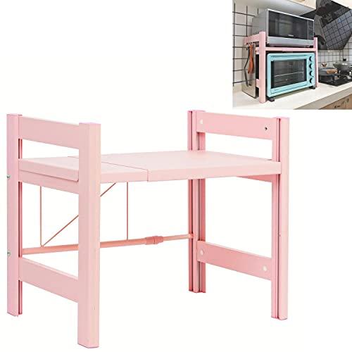 Eckes Scaffale per forno a microonde, con 3 ganci per appenderlo, organizer da cucina (rosa)