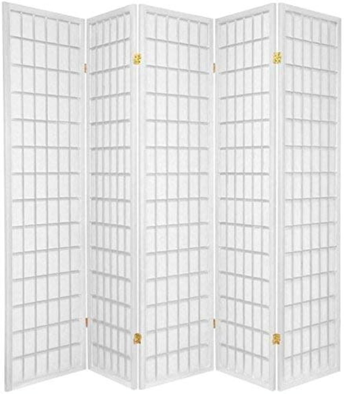 Oriental Furniture Asian Furniture, 6-Feet Window Pane Japanese Shoji Privacy Screen Room Divider, 5 Panel White