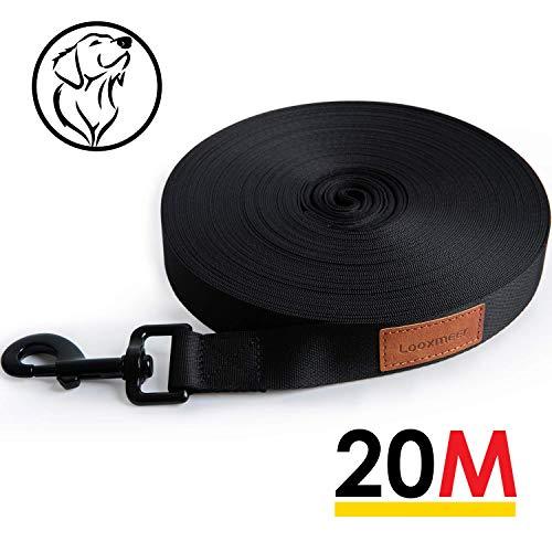 Looxmeer Schleppleine für Hunde, 20m Robuste Hundeleine Trainingsleine mit Aufbewahrungsbeutel, Handschlaufe und D-Karabiner, Schwarz