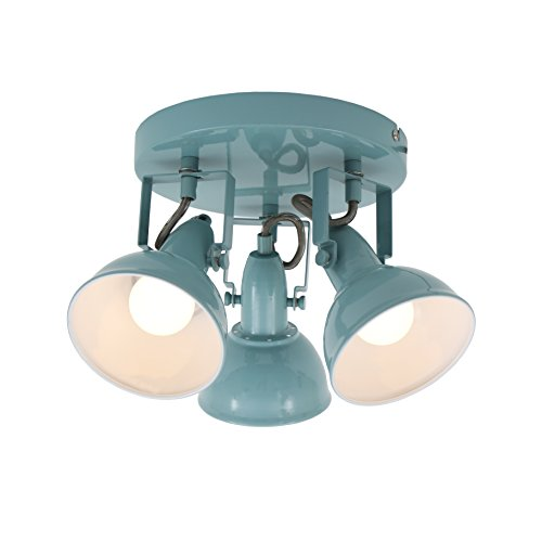 Briloner Leuchten Deckenleuchte, Deckenlampe mit 3 dreh-und schwenkbaren Spots im retro / vintage Design, Fassung: E14 max. 40 Watt, Metall, Maße: 21x15.6 cm, Farbe: mint weiß
