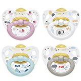 NUK Happy Kids Latex-Schnuller, kiefergerechte Form, 0-6 Monate, 2 Stück, Farbe nicht frei wählbar (blau/grau oder rosa/weiß)