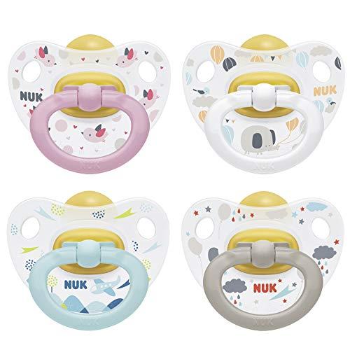 NUK Happy Kids Latex-Schnuller, kiefergerechte Form, 6-18 Monate, 2 Stück, Farbe nicht frei wählbar (blau/grau oder rosa/weiß)