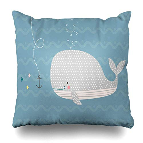 N / A Throw Pillow Cover Square Inches Hand Happy Baby Whale Childish Ocean Bubbles Underwater in Animals Decoration Nordic Wildlife Wave Decorative Pillowcase Home Decor Cushion Pillow Case