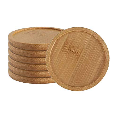 Anpatio 6PCS 2.9 inches Round Bamboo Trays Saucers for Small Porous Planter Farmhouse Style Coasters Coffee Service Tray