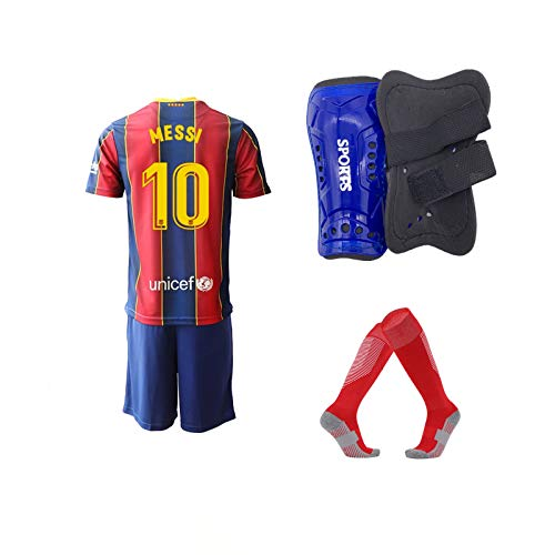 A-Fantasy 2020/21#10 Youth Soccer Jerseys with Kids Soccer Shin Guards Socks for Boys/Girls Red