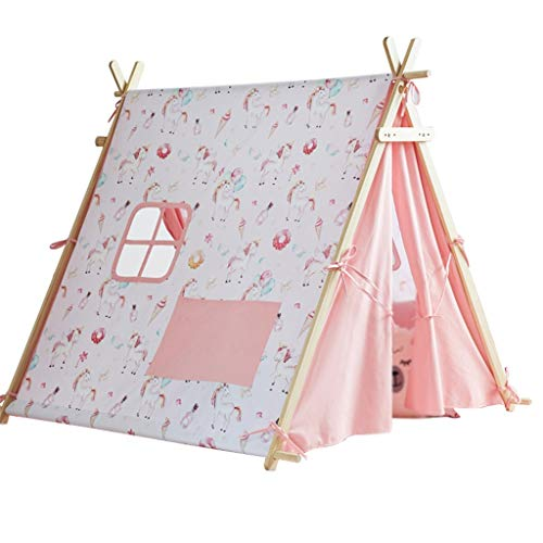 SZQ-Play Tents Large Tent House With Solid Wood Brackets, Indoor Decorative Tent Children's Play Tent Cartoon Playhouse - Adjustable Width Design - Kids Teepee (Color : C, Size : 124 * 140 * 125CM)