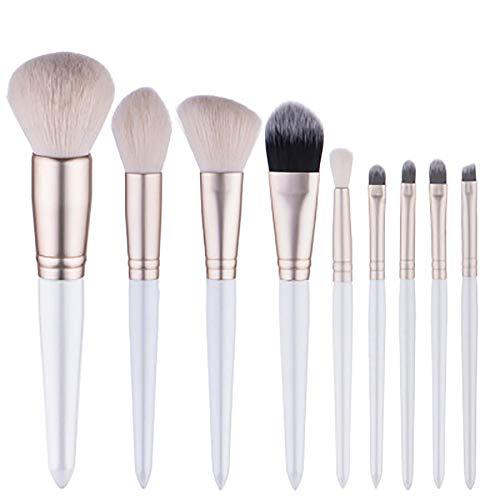 9 PCS White Pearl Maquillage Brush Set Avec Poignée En Bois, Maquillage En Laine Comme Des Outils En Bois Poignée Professionnelle Haut De Gamme Synthétique Fondation Pinceau Estompeur,Blanc