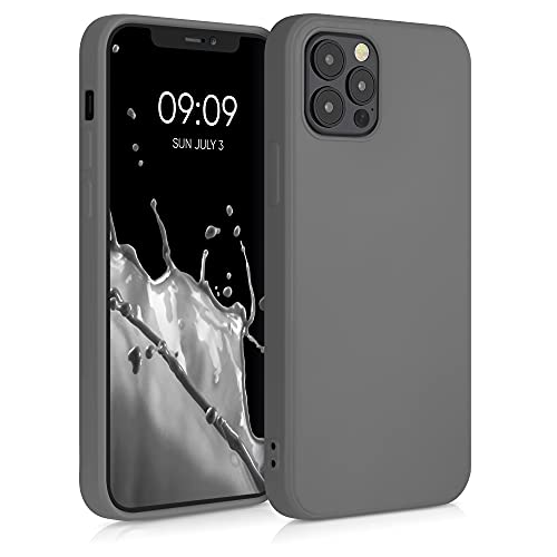kwmobile Slim Hülle kompatibel mit Apple iPhone 12/12 Pro - Hülle Silikon Handy - gummiert - Handyhülle Titanium Grey