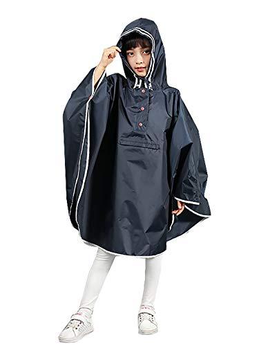 URBEAR Imperbebile Pioggia da Bambina Mantella Pioggia Antipioggia, Bambini Mantella Antipioggia Poncho con Bag S-XL, Blu Scuro L(125-150CM