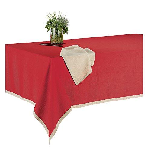 Les Ateliers du Linge – Nappe rectangle Victory – 140x240 cm – 100% lin – Tissu lavable - Couleur unie et bordure contrastante