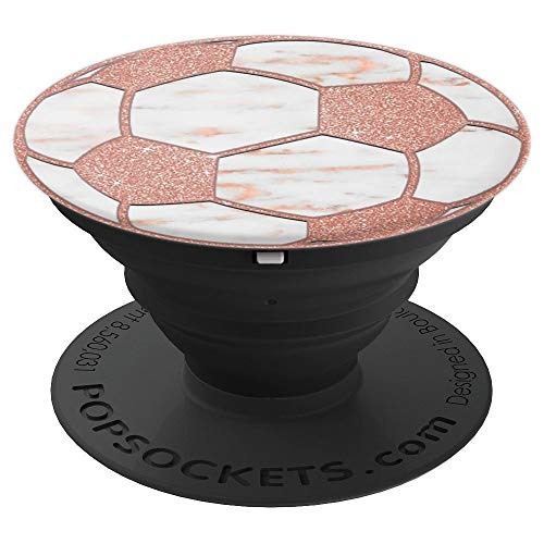 Golden Rose Pink Soccer Ball on Gray White Marbled Look PopSockets Grip and Stand for Phones and Tablets