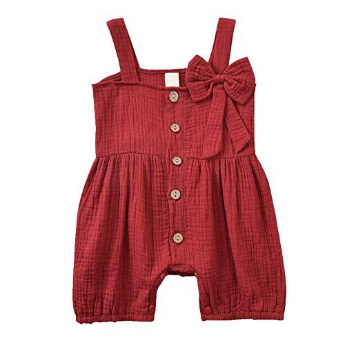 Weilov (0-12 M) Camisola De Bebé con Botones De Bowknot Color Sólido Algodón Y Lino De Una Pieza Mameluco Bolsa Pedo Tirantes Mono Mono