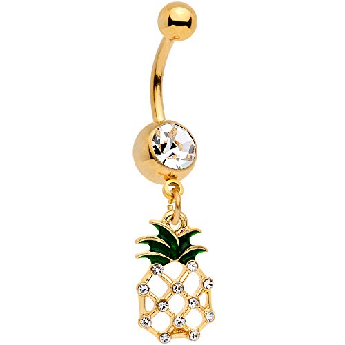 Body Candy 14G Gold Tone PVD Steel Navel Ring Piercing Clear Accent Pineapple Belly Button Ring 7/16""