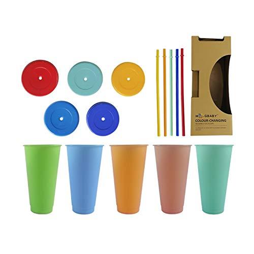Vaso Que Cambia de Color con Pajita y Tapa Juego Clásico de Pajita Para Vaso Que Cambia de Color, Juego de Tazas Que Cambian de Color Reutilizable con Botella de Agua Estilo Ins, por La Familia, Amigo