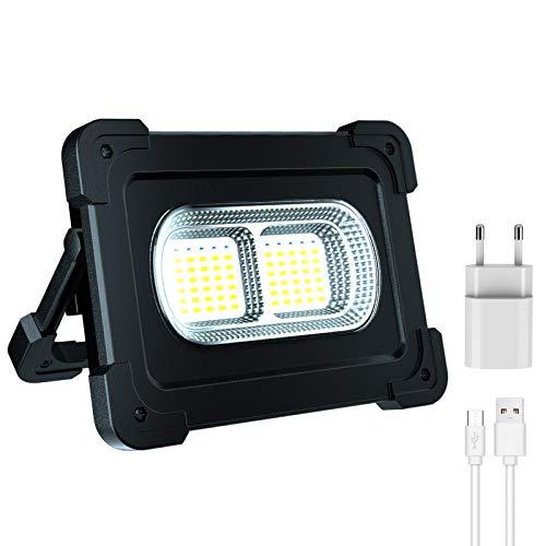Hacevida LED Baustrahler Akku 80W, LED Arbeitslampe 10000mAh / IP65 Wasserdicht / 8000LM / 2 Ladenmethoden/Power Bank / 4 Modi, Bauscheinwerfer LED Arbeitsscheinwerfer für Camping, Baustelle