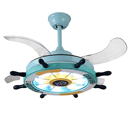 """Lighting Groups 42"""" Invisible Reversible Ceiling Fan with Light & Remote, 4 Retractable Blades Fan Chandeliers for Kids' Room, Indoor Pirate Ship Steering Wheel Ceiling Light Kits with Fans (Blue)"""