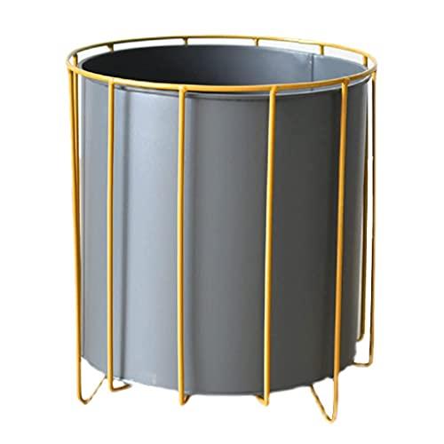 Pkfinrd Macetero negro con marco de hierro redondo de pie, macetas altas para interiores y exteriores, plantas medianas y grandes, para decoración del hogar (tamaño: pequeño)