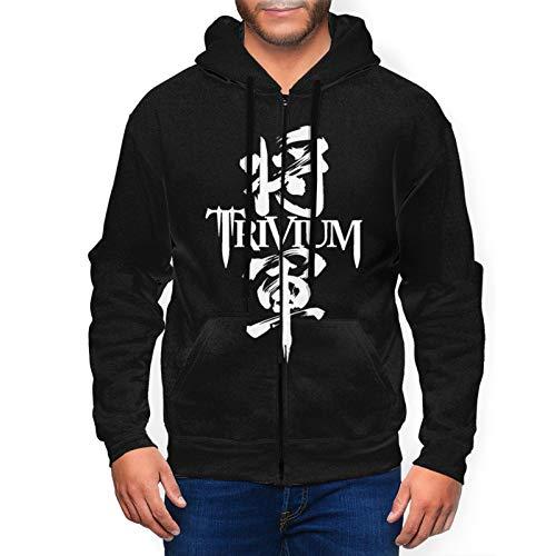 Rufischi Men's Trivium Heavy Metal Band Athletic Fit Full Zip Sweatshirt Active Hoodie Jacket Black