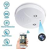 Cámara Oculta WiFi, Cámara Espía Inalámbrica, Cámara con Detectora de Humo HD 1080P Cámara de Seguridad Detección de Movimiento y Visión Nocturna