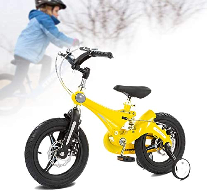 en linea Q&J Bicicleta Infantil de aleación de magnesio para para para Bicicletas con Resorte de Amortiguador, Freno de Montaña + Freno Delantero, Ruedas de Apoyo extraíbles,amarillo,14zoll  hasta un 65% de descuento