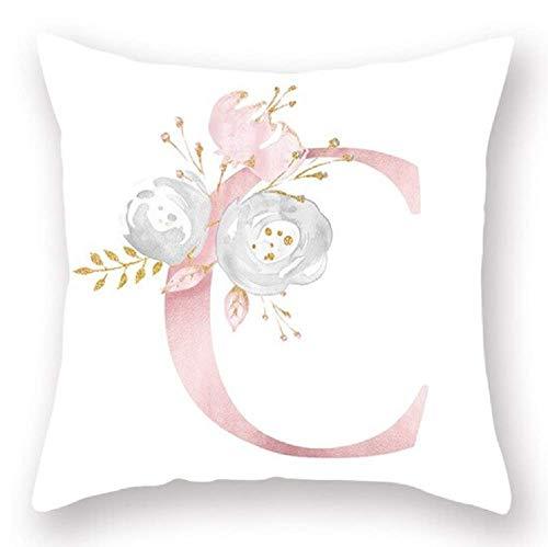 Inception Pro Infinite Funda de cojín - 45 x 45 cm - Letra C - Nombre - Inicial - Alfabeto - Sofá - Casa - Dormitorio - Rosa - Flores - Color blanco