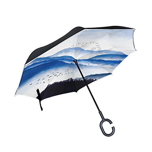 mydaily Double Layer seitenverkehrt Regenschirm Cars Rückseite Regenschirm Berge und Vögel Watercolor winddicht UV Proof Reisen Outdoor Regenschirm
