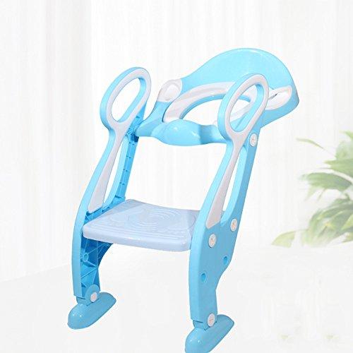 Toilettes pour enfants Facile à Verser Potty Bébé Toddler Potty Formation Toilettes Ladder Seat Steps Assistant Potty pour Enfant Enfant Toilette Trainer Bleu (Couleur : A, Taille : 1)