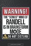 Randell: Warning The Genius Mind Of Randell Is In Brainstorm Mode - Randell Name Custom Gift Planner Calendar Notebook Journal