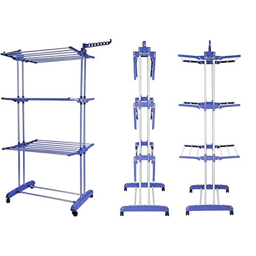 TAHA ® Clothes Airer 3 Tier Laundry Drying Rack Outdoor Indoor Heavy Duty Horse Blue