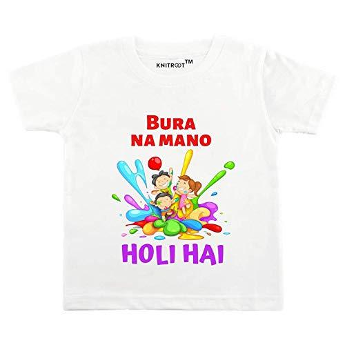 "Holi Tshirt for Kids by Knitroot White Color Round Neck Cotton Tshirt""Bura Na Mano Holi Hai""(1-2 Years,Chest Size 22inch)"