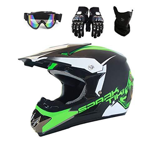 Damai Full Face Motorcycle Helmet ATV Motocross MX Dirt Bike Off Road Helmet with Gloves And Goggles for All Seasons,C,L