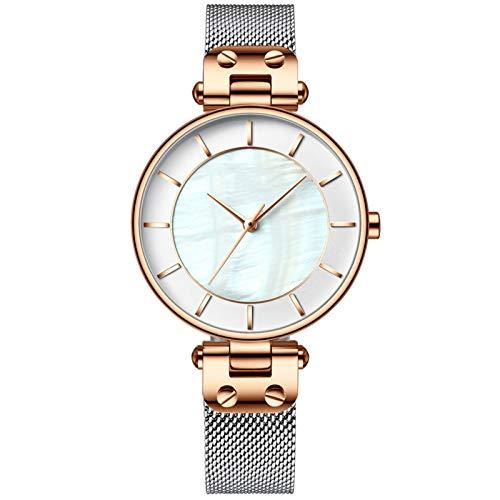 YQCH Relojes de Mujer Muñequera de Lujo Muñecas Reloj Relk Lady Gold Impermeable Moda con Correa de Acero Inoxidable Regalos para Mujeres (Color : A)