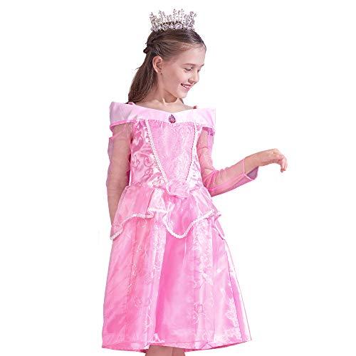 IKALI Kinder Prinzessin Kostüm Mädchen Märchen Kleid Rosa Schlaf Hochzeit Karneval Party Outfits
