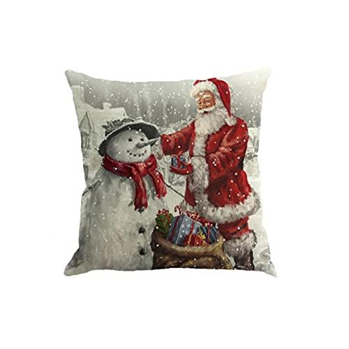 Runfon Santa Claus Funda de Almohada Flax Cuadrado Funda de Almohada Funda de Almohada de Navidad Cojín de cojín para sofá Cama Decoración