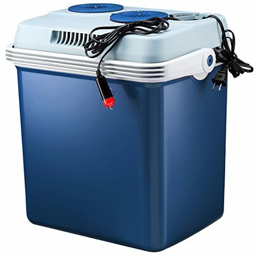 Knox Electric Cooler and Warmer for Car and Home with Automatic Locking Handle - 27 Quart (25 Liter) - Holds 30 Cans - Dual 110V AC House and 12V DC Vehicle Plugs