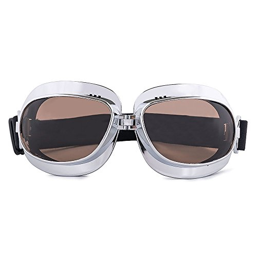 Unbekannt nawenson Vintage Motorrad Goggles Retro Aviator Pilot Cruiser Steampunk Motocross Classic Brillen ATV Bike UV-Schutz Silber, Smoke