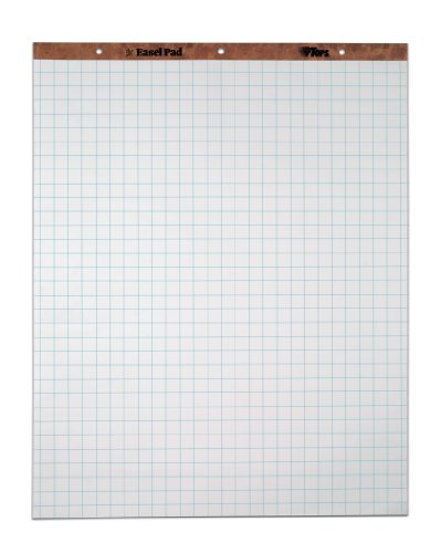 "TOPS Standard Easel Pads, 3-Hole Punched, 27 x 34 Inch, 1"" Grid, White, 50 Sheets/Pad, Carton of 2 Pads (7902)"
