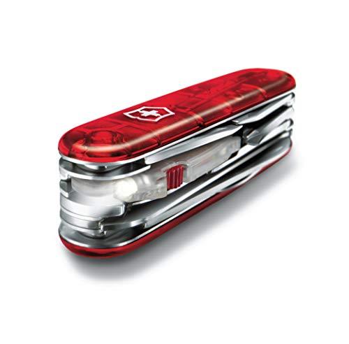 Victorinox Taschenmesser Huntsman Lite (21 Funktionen, Klinge, Mehrzweckhaken, LED) rot transparent