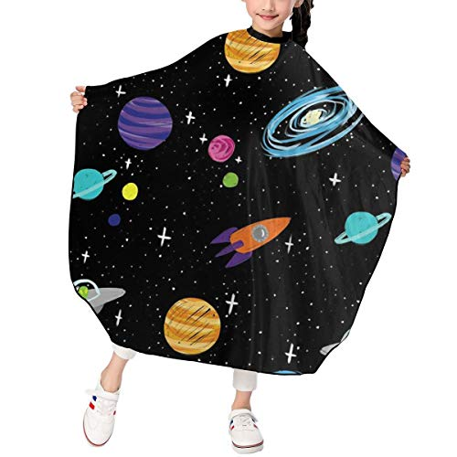 Alien in The Universe Kids Haircut Barber Cape Cover for Hair Cutting,Styling and Shampoo