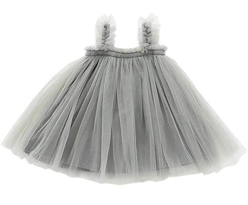 GSVIBK Baby Girls Tutu Dress Toddler Infant Tulle Skirts Sleeveless Sundress Mini Dress Bubble 5 Layers 12M Gray 708
