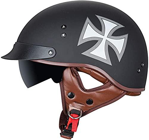 SPOTOR Helmet Motocross Half-Helmet con Visera Solar Casco Patinete Eléctrico Bicicleta Casco AnticolisióN Patines y Skateboard,Adultos Unisex,Negro 55~63cm ABS Plastico