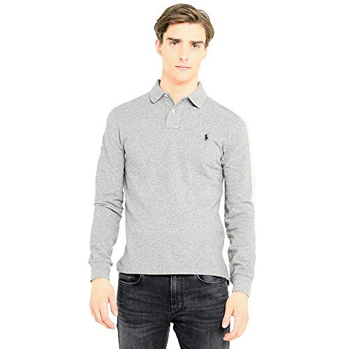 Polo Ralph Lauren Langarmpolo Custom Slim Fit (XXL, Grey Heather)