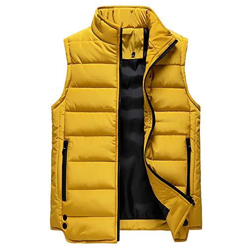 Chaleco sin mangas para hombre y mujer, sin mangas, para otoño, estilo informal, para hombre, con cremallera amarillo 5X-Large