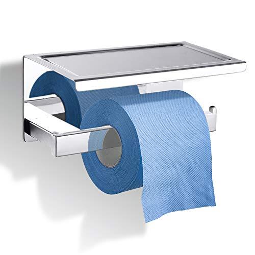 GEMITTO Portarrollos Baño Acero Inoxidable SUS304 Soporte para Papel Higiénico con Estante de Almacenamiento, Porta Rollos para Baño Plata Tubo Cuadrado