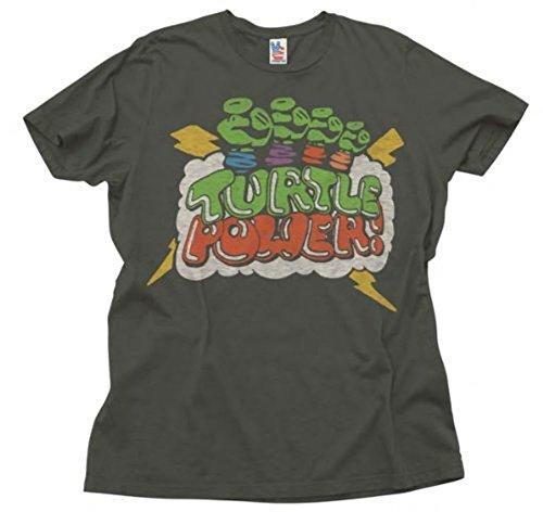 Junk Food TMNT Teenage Mutant Ninja Turtles Turtle Power Adult Black T-Shirt (Adult Large)