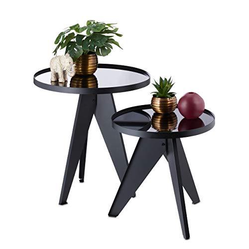 Relaxdays Beistelltisch, 2er Set, rund, verspiegelte Glas-Tischplatte, Satztisch, Metall, HxD 41x40 & 51x48 cm, schwarz, 2 Stück