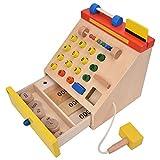 Jadpes Juguete de Caja registradora, Juguete de Caja registradora, simulación de Madera para niños con Dinero de Juego para niños Mayores de 3 años Supermercado Caja registradora Play House Toys